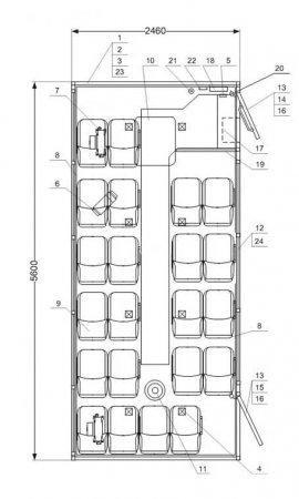 Схема планировки: Вахтовый автобус Камаз 43502-66(D5) (22 места)