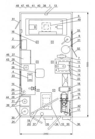 Схема планировки: ПАРМ с токарным станком Камаз 5350