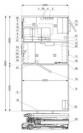 Схема планировки: АРОК с КМУ ИМ-25 Камаз 43118