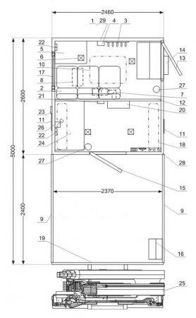Схема планировки АРОК с КМУ ИМ-55 Урал 4320