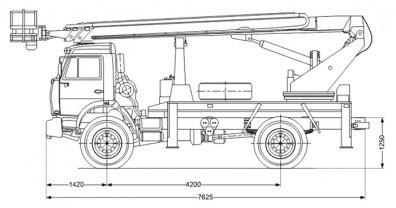 Чертёж: Автогидроподъемник АГП ПСС-131.22Э Камаз 43502