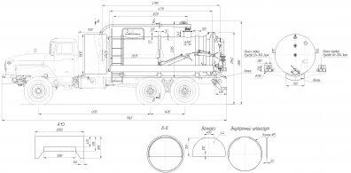 Чертёж: Вакуумная илососная машина МВС-12 КАМАЗ-65115-50