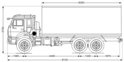 Чертёж: Изотермический фургон Камаз 43118