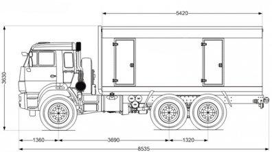 Чертёж: ППУ 1600/100 на шасси КАМАЗ 43118-50