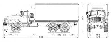Чертёж: Изотермический фургон с КУ Урал 4320
