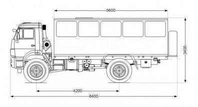 Чертёж: Вахтовый автобус Камаз 43502-66(D5) (22 места)